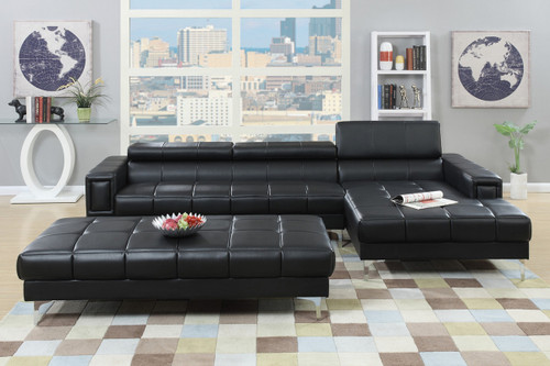 MODERN 2PC SECTIONAL W/ FLIP UP HEADREST IN BLACK COLOR