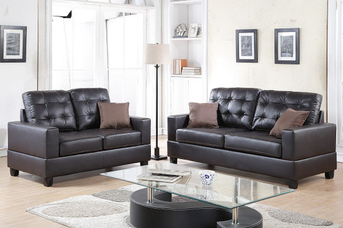 2-Pcs Sofa Set in Espresso Color with Accent Pillows