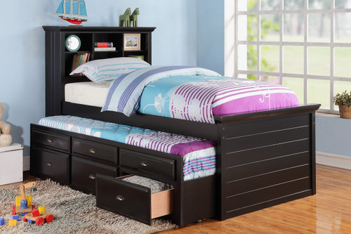 TWIN BED W/TRUNDLE BLACK
