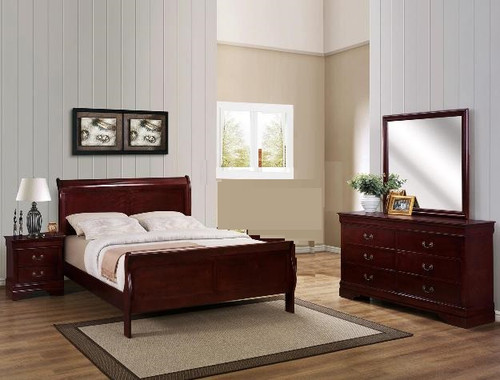 6PCS LOUIS PHILLIP BEDROOM SET IN CHERRY