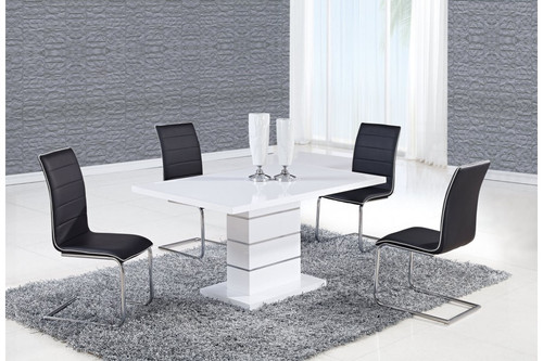 ALEXIA 5 PCS CONTEMPORARY SET 4 BLACK CHAIRS AND WHITE MODERN TABLE