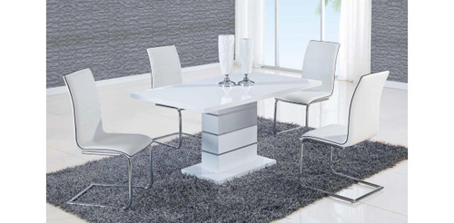 ALEXIA 5 PCS CONTEMPORARY SET 4 BLACK CHAIRS AND WHITE ...