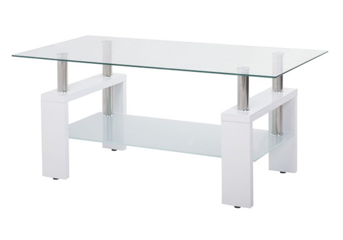 Contemporary Coffee Table with Glass Top and Wooden Legs (White) (648T
