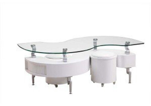 White Occasional Coffee Table with Silver Legs-T288-WHE
