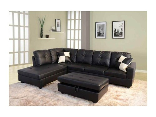 3PC ETHAN SECTIONAL WITH ACCENT PILLOWS IN BLACK