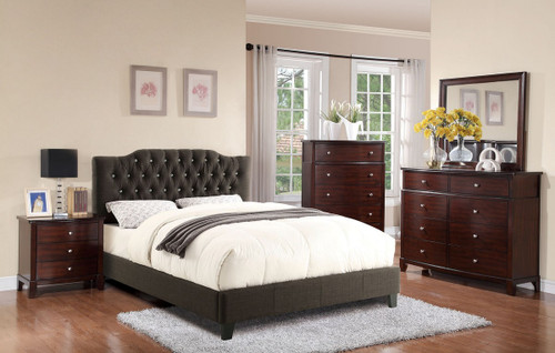 ASH BLACK LINEN UPHOLSTERED WITH FAUX CRYSTAL BUTTONS PLATFORM BED (No Boxspring Required)