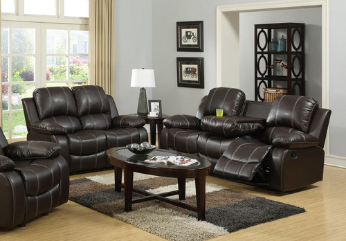 2PC PALERMO LEATHER RECLINER SOFA AND LOVESEAT (ESPRESSO) - 3118brownSET