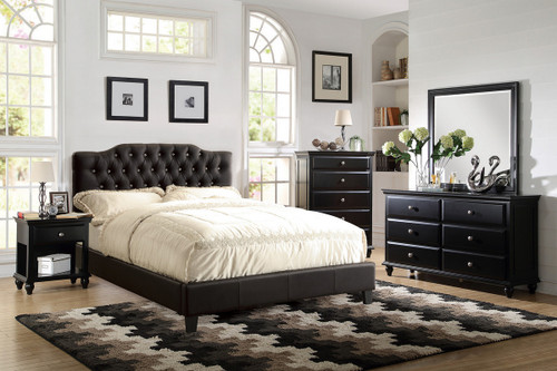 BONDED LEATHER UPHOLSTERED BED WITH CRYSTAL BUTTONS