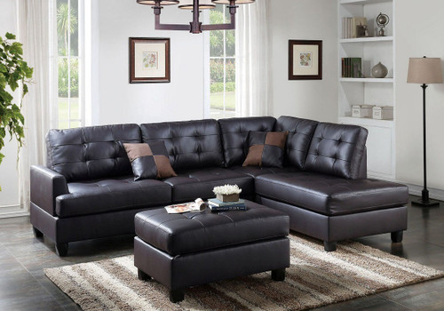 REVERSIBLE 3-pcs SECTIONAL W/OTTOMAN UPHOLSTERED IN ESPRESSO FAUX LEATHER
