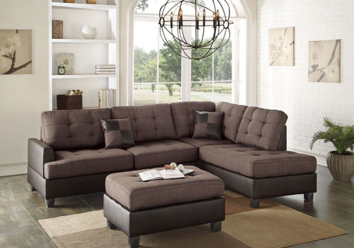 REVERSIBLE 3-pcs SECTIONAL W/OTTOMAN IN CHOCOLATE LINEN