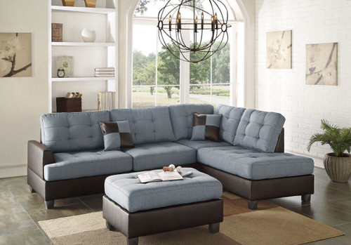REVERSIBLE 3-pcs SECTIONAL W/OTTOMAN IN GREY LINEN