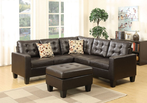 4-Pcs MODULAR SECTIONAL SOFA SET W/ OTTOMAN & 2 ACCENT PILLOWS UPHOLSTERED IN ESPRESSO LEATHER