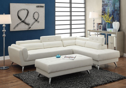MODERN WIDE PLUSH SEATING 2 PCS SECTIONAL IN WHITE LEATHER (STORAGE ON CORNER BACK)
