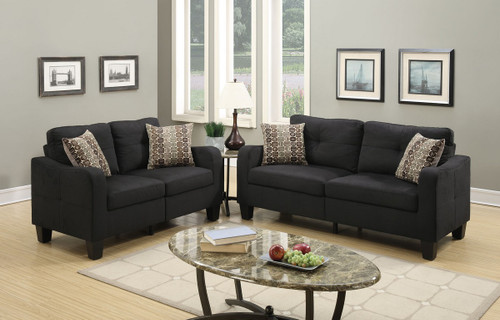 LOVESEAT SOFA SET WITH FOUR ACCENT PILLOWS AND IN BLACK LINEN