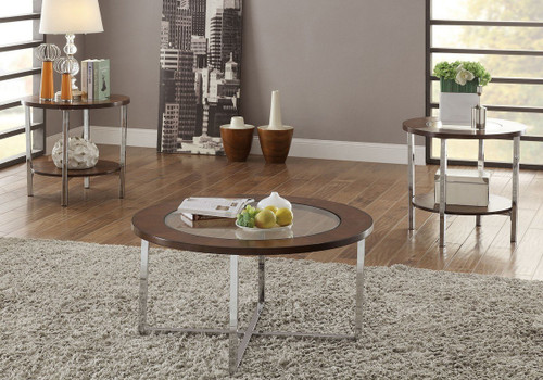 3PC Circular Tempered Glass Top Coffee Table & End Table Set-F3113