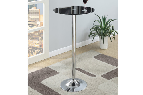 BLACK TEMPERED GLASS TOP IN CHROME FINISH BAR TABLE