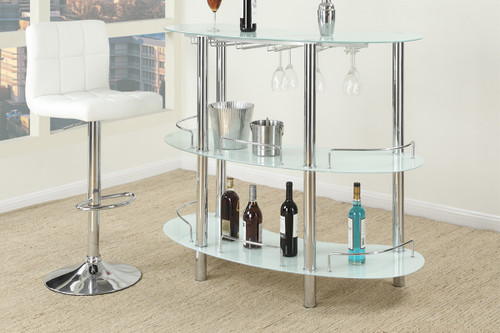 WHITE BAR TABLE AND STOOL