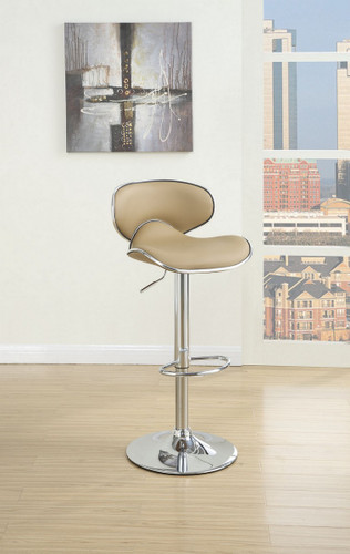 BROWN LEATHER 2 PIECES BAR STOOL