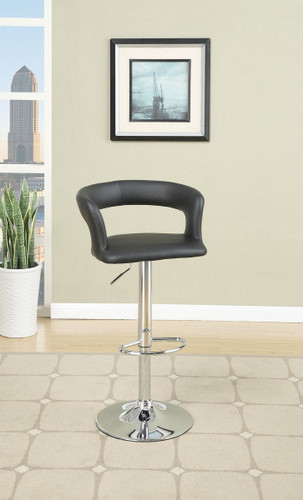 BLACK LEATHER 2 PIECES ADJUSTABLE BAR STOOL