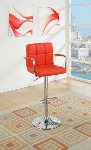 ADJUSTABLE RED LEATHER 2 PIECES BAR STOOL