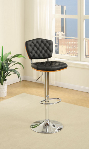 ADJUSTABLE PEDESTAL 2 PIECES BAR STOOL WITH HORIZONTAL ACCENT STITCHING UPLHOLSTERED IN BLACK FAUX LEATHER