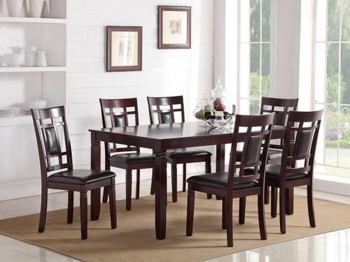 7 PCs ESPRESSO FINISH WOOD DINING TABLE SET WITH GRID PATTERN BACK PADDED SEATS