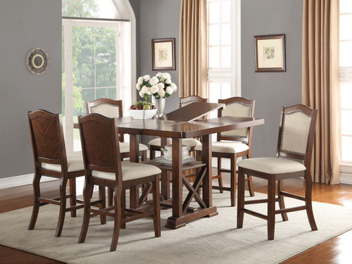 SET OF 5 DARK CHERRY FINISH WOOD COUNTER HEIGHT DININGTABLE WITH PADDED SEATS