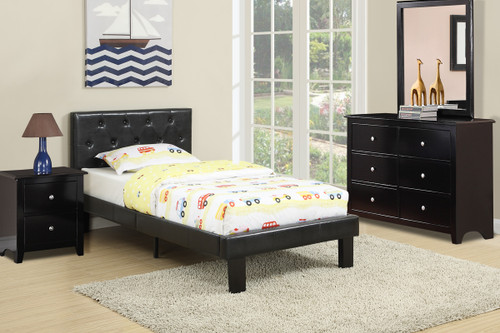 BEDROOM PLATFORM TWIN/FULL BED UPHOLSTERED IN BLACK LEATHER