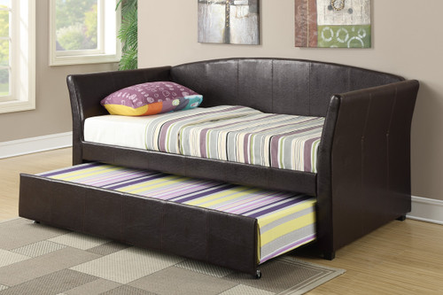 TWIN BED DAYBED w/TRUNDLE UPHOLSTERED IN ESPRESSO LEATHER