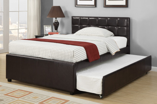 TWIN/FULL BED WITH TRUNDLE IN ESPRESSO LEATHER FINISH