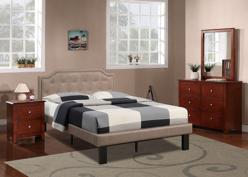 MODERN TWIN/FULL SIZE BED UPHOLSETERED IN TAN POLYFIBER LINEN