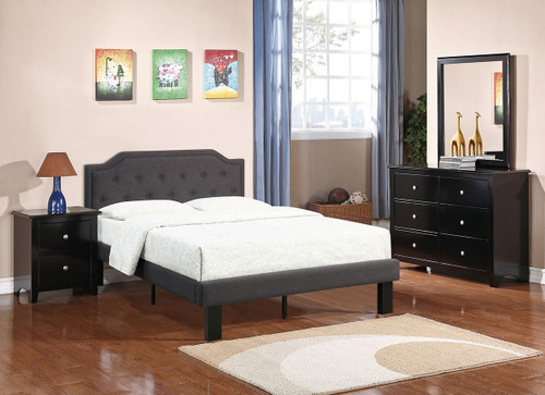 MODERN TWIN/FULL SIZE BED UPHOLSETERED IN ASH BLACK POLYFIBER LINEN