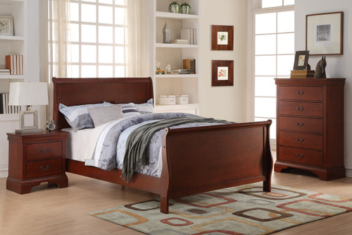 SLEIGH DESIGN CHERRY TWIN/FULL BED FRAME