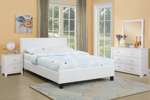 QUEEN SIZE ENCASED BEDFRAME UPHOLSTERED IN WHITE FAUX LEATHER