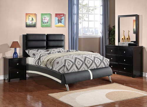 SPORTS CAR SLEEK ACCENT BEDFRAME PLATFORM IN BLACK BONDED LEATHER