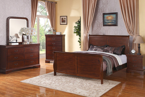 DARK WALNUT WOOD FINISH KING/QUEEN BEDFRAME