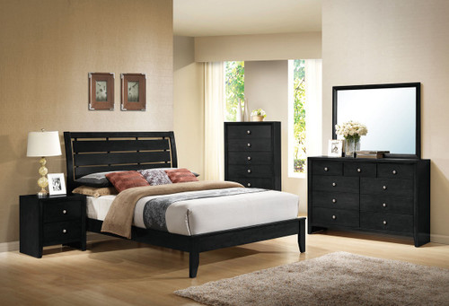 QUEEN/KING IN BLACK FAUX LEATHER CUBED SHAPED TUFTED HEADBOARD