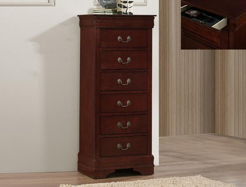 LOUIS PHILIP LINGERIE CHEST WITH HID DRAW CHERRY