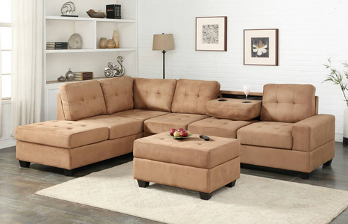 3 PCS HEIGHTS SECTIONAL With Dropdown Table And OTTOMAN SET TAUPE - TAUPE