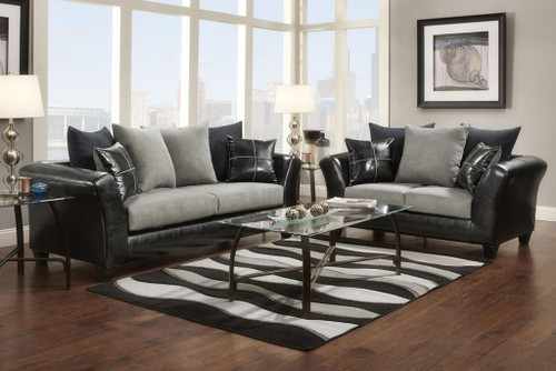 2PC VICTORY LANE SOFA AND LOVESEAT IN GRAY-9000-DL