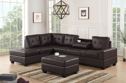 3 PCS HEIGHTS BONDED LEATHER SECTIONAL WITH DROP DOWN CUP HOLDER WITH OTTOMAN IN ESPRESSO