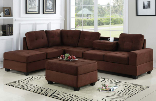 3 PCS HEIGHTS SECTIONAL With Dropdown Table And OTTOMAN SET CHOCOLATE - 4HEIGHTS