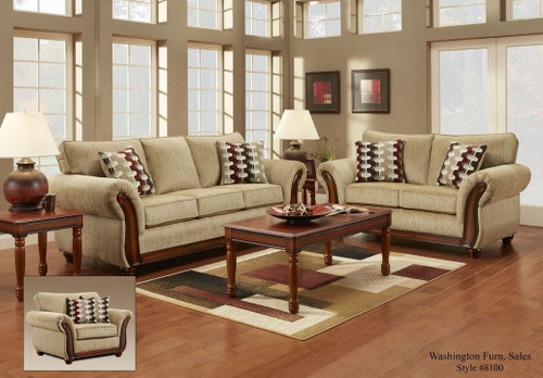 2PC WASHINGTON Radar Havana Sofa and Loveseat Set - 8103RH