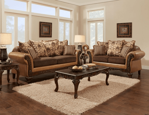 2PC Avanti Bronze Sofa and Loveseat Set - 6250AB
