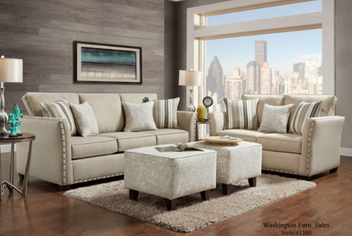 WASHINGTON 2PC SOFA LOVESEAT SET(SAND)) - 1380SA
