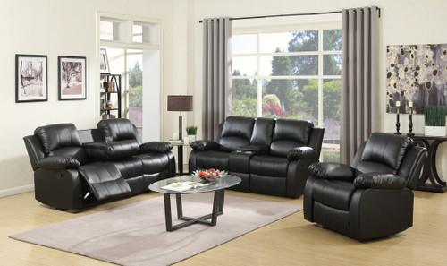 3PC MOTION LIVING ROOM SET (BLACK) - 110100BLK
