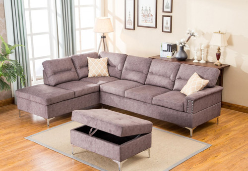 LARRY SECTIONAL AND OTTOMAN SET (Grey) - Larry