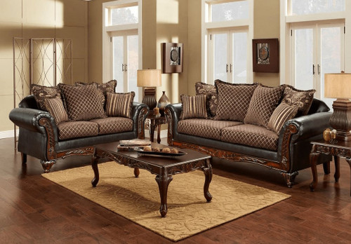 2PC Sienna Brown Sofa and Loveseat Set - 6350-Sienna Brown