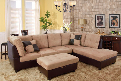2 PCS TYLER BROWN SECTIONAL WITH ACCENT PILLOWS (LEFT FACING SOFA) - F103B