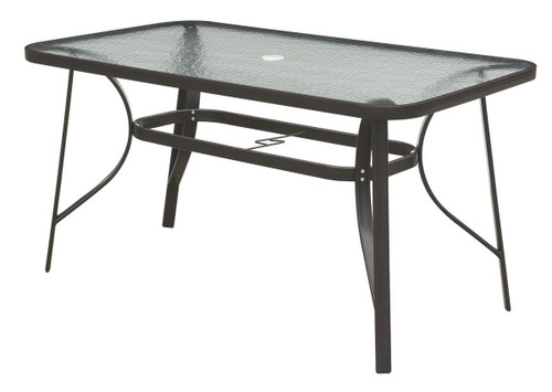 DARK BROWN OUTDOOR TABLE STEEL FRAME